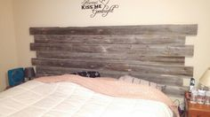 My new headboard made out of reclaimed barn wood from my farm in Little Falls! Now i just need matching nightstands!!!