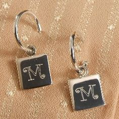 Sterling Silver Earrings with Square Charms - Personalized