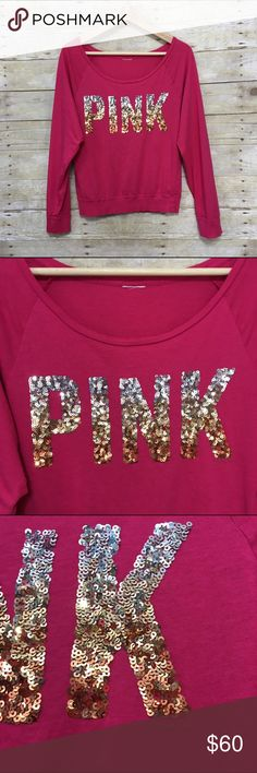 """PINK Victoria's Secret ombré bling sequin top PINK Victoria's Secret long sleeve scoop neck ombré bling sequin top. Size tags removed, will fit sz. M - please refer to measurements (all across laying flat): armpit to armpit 19"""" waist 15"""". Very small pinhole at the back of one arm - please see photos. PINK Victoria's Secret Tops Tees - Long Sleeve"""