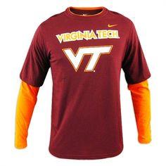 486d3cfe8 Virginia Tech Hokies Youth Nike 2-Fer Layered Long Sleeve T-Shirt Virginia  Tech