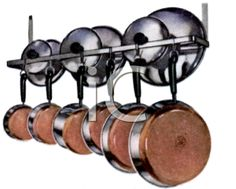 Stainless Pots and Pans Hanging on a Racks