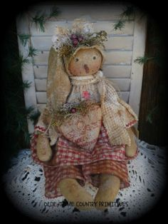 Primitive Olde Winter Christmas Snowgirl Doll~Heart #NaivePrimitive