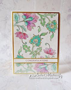 Card made using Twinkling H2Os, and Altenew Persian Motives Stamp set.