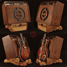 Spalted Hackberry Low Rider Atlas Amp Stand with Kick-Out Guitar Stand and Table Top for use with stacked rigs.