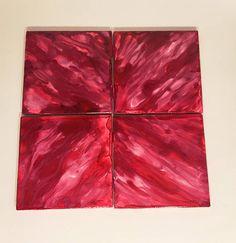 Ceramic Tile Coasters Coaster Set Red Decor Table Decor