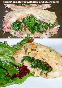Baked Pork Chops Stuffed with Kale and Mushrooms - savory and a good way to get veggies in. http://motherrimmy.com/savory-pork-chops-stuffed-with-kale-and-mushrooms/