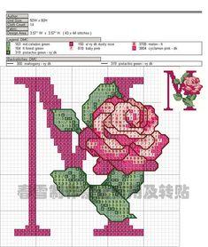 The rose alphabet M Monogram Cross Stitch, 123 Cross Stitch, Cross Stitch Alphabet Patterns, Cross Stitch Fabric, Cross Stitch Flowers, Cross Stitching, Cross Stitch Embroidery, Stitch Patterns, Plastic Canvas Stitches