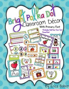 This bundle contains everything you need to set up your bright polka dot, primary font classroom.  I have created this set in a primary friendly font.  Because the file is so large and it was over the upload limit, I have included a link (page two) to a zipped file from Dropbox.