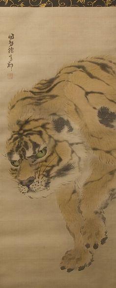 Tiger  Dokokan Ganku  (Japanese, 1749–1838)  Period: Edo period (1615–1868) Date: 19th century Culture: Japan Medium: Hanging scroll; ink and color on silk