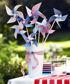 Try a fun Fourth of July craft - Paper Pinwheels.