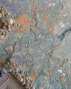 Vizcaya Estate Shell Grotto ~ An aquatic mural on the ceiling of the villa's saltwater pool was created with real and plaster seashells by the artist Robert Chanler.