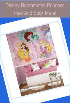 Disney Roommates   Princess Peel And Stick Mural | Disney Princess Curtains |  Disney Princess Bedroom Diy   | Princess Bedroom Canopy | Disney Princess Room Accessories. #interiordesign #Products Teenage Girl Bedrooms, Girls Bedroom, Disney Princess Curtains, Princess Room, Roommates, Room Accessories, Canopy, Interior Design, Diy