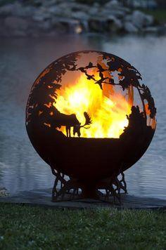 Up North Fire Pit Sphere | Unique Functional Art | Melissa Crisp - Moose