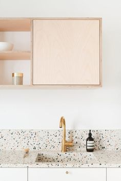 Countertops terrazzo countertops and wood cabinets in kitchen designed by heju. / sfgirlbybay - the terrazzo trend is not going anywhere fast. i keep seeing it pop up in design everywhere like this absolutely fabulous kitchen designed by heju. Küchen Design, Home Design, Layout Design, Design Ideas, Design Styles, Design Elements, Design Trends, Interior Design Kitchen, Modern Interior Design
