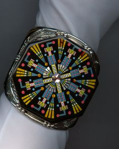 Sterling and Semi-Precious Stone Inlaid Cuff Bracelet by Jewelboy