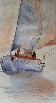 """""""Barca a vela"""" - Acquerello 29x20"""