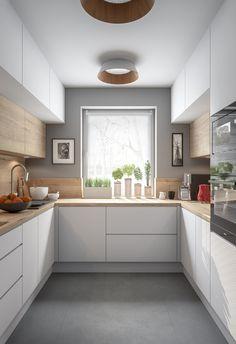 Simple Kitchen Design, Kitchen Room Design, Kitchen Layout, Home Decor Kitchen, Interior Design Kitchen, Home Kitchens, U Shape Kitchen, Modern Kitchen Cupboards, Small Modern Kitchens