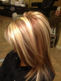 Brown Hair With Chunky Platinum Highlights Beige base with platinum