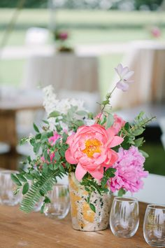 Bright, floral centerpiece idea - mercury glasses with pink peonies, sweet peas and fern centerpiece {Morgan Marie Photography}