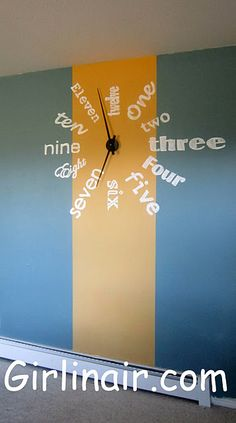 DIY Wall clock -  but mounted on tree ring and with painted wooden letters. Now, does it come with a foghorn alarm that requires a sequence of numbers that rivals anything you've ever seen on Mission Impossible to shut it off?  Cause she needs that!