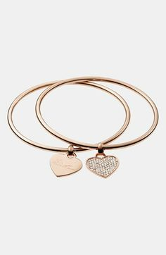 Michael Kors Boxed Heart Charm Bangles (Set of 2) | Nordstrom