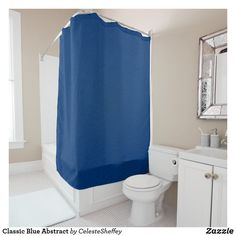 Classic Blue Abstract Shower Curtain