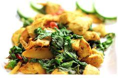 Karrikylling med dampet spinat