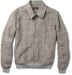 Prince of Wales Check Linen-Blend Harrington Jacket