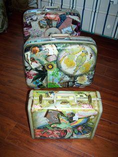 Vintage decoupaged  luggage beach style