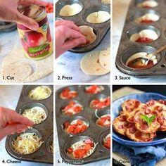 Cut dough, press into a muffin dish, add sauce, then pepperoni . Cute little mini pizza bites! Bake on 350 for 20 min. Mini Pizzas, Pizza Bites, Pizza Cups, Bagel Bites, Taco Bites, Comida Diy, Do It Yourself Food, Tortilla Pizza, Tortilla Wraps
