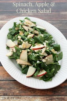 Spinach, Apple & Chicken Salad | White Lights on Wednesday  #spinach #chicken #salad