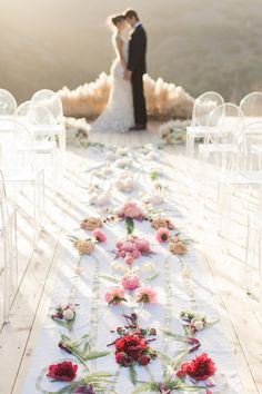Botanical Floral Aisle Runner   Carlie Statsky Photography   Luxe Bohemian Wedding in Jewel Tones