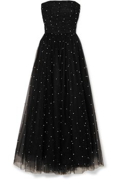 Black tulle Concealed hook and zip fastening at back polyester; Evening Dresses, Prom Dresses, Formal Dresses, Net Dresses, Net Gowns, Monique Lhuillier, Pretty Dresses, Beautiful Dresses, Tulle Gown