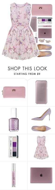 """""""My sis did this set so what your opinion about it?!"""" by lanabaloley ❤ liked on Polyvore featuring Samsung, Essie, Sergio Rossi, Clinique, Urban Decay and Monsoon"""