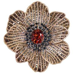 Alex Soldier Mandarin Garnet Diamond Gold Coronaria Brooch, Cuff,... ($65,000) ❤ liked on Polyvore featuring jewelry, multiple, gold heart pendant, heart pendant, diamond pendant, garnet heart pendant and gold jewelry