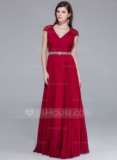 A-Line/Princess V-neck Floor-Length Chiffon Lace Evening Dress With Beading Pleated (017025540)