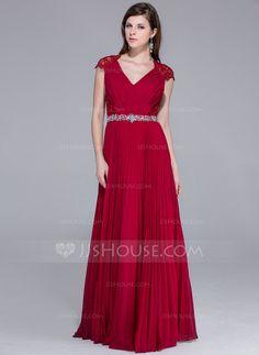 Vestidos princesa/ Formato A Decote V Chá comprimento De chiffon Renda Vestido de festa com Bordado Plissada (017025540)