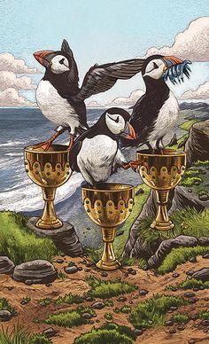 Three of Cups - Enlightened Animal Tarot