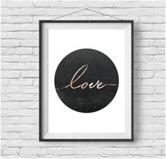 Minimalist Circle Print Typography Print Love Wall Art Love Print Copper Print Rose Gold Poster Scandinavian Design Modern Printable Art