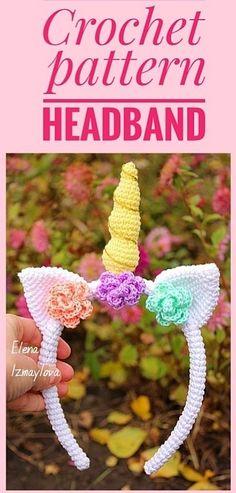 Crochet Unicorn Pattern, Easter Crochet Patterns, Crochet Headband Pattern, Crochet Bunny, Crochet Ideas, Crochet Winter Hats, Summer Headbands, Unicorn Headband, Halloween Crochet