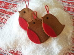 Set of 3 Hand Made Robin Felt Christmas Tree by TheCraftyBluebird, £4.99