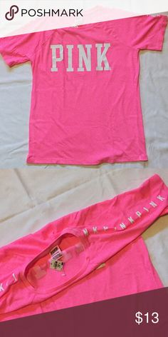 Vs PINK shirt Neon pink Victoria secret PINK shirt. New with tags PINK Victoria's Secret Tops Tees - Short Sleeve