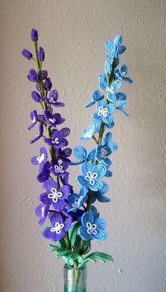 Delphenium  French Beaded Flower by DeesBeadedFlowers on Etsy