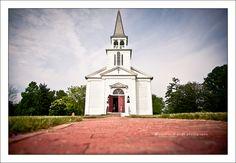 adorable white chapel wedding