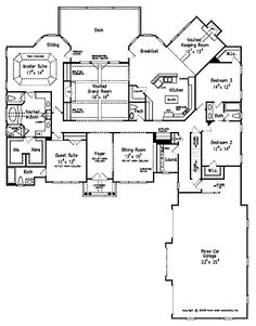 Floor Plans AFLFPW07368 - 1 Story Cottage Home with 4 Bedrooms, 3 Bathrooms and 3,206 total Square Feet