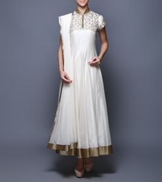 Ivory Sequined Chanderi & Net Anarkali Suit