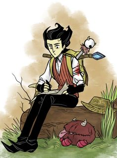 Don't Starve <3 Wilson and a sleepy Chester