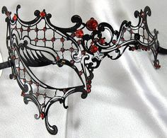 Phantom Black Laser Cut Venetian Masquerade Mask with Crimson Red Rhinestones - Filigree Metal Design