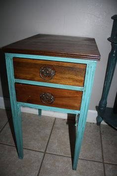 side table, refinished, stained and painted, shabby chic, end table