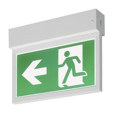 P-LIGHT Emergency Exit sign small ceiling/wall, white Emergency Exit Signs, Emergency Lighting, Hospital Signage, Lighting System, Ceiling Lights, Lighting Products, Wall, Unique, Exit Sign